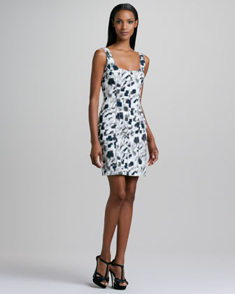 Sleeveless Printed Stretch-Cotton Dress