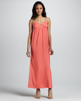 Dragonfly Embroidered Maxi Dress