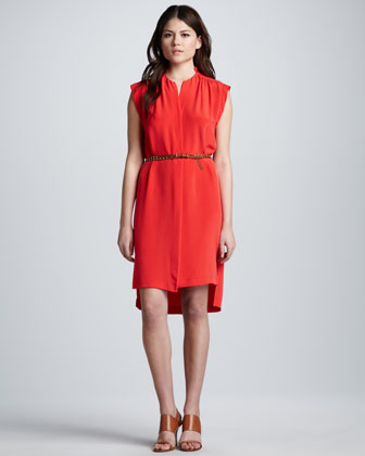 Sleeveless Belted Shift Dress