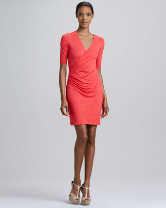 Faux-Wrap Half-Sleeve Dress