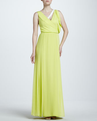 Asymmetric Georgette Gown