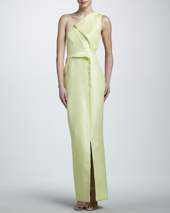 Layered Gazar One-Shoulder Gown, Buttercup