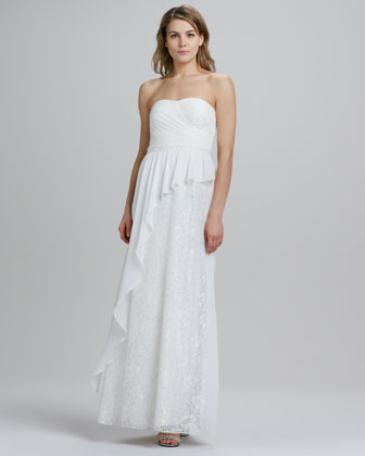 Strapless Asymmetric Draped Gown
