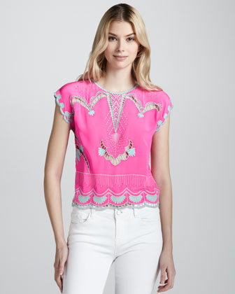 Olympia Embroidered Silk Blouse