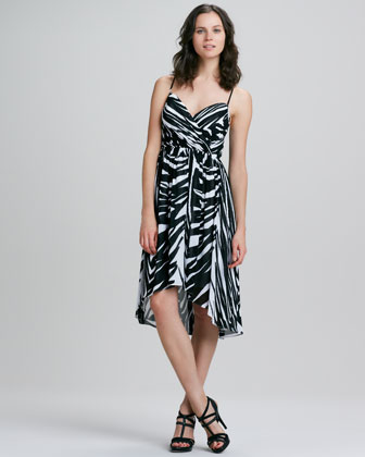 Alicia Spring Striped High-Low Maxi Dress