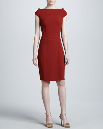 Super-Stretch Crepe Dress, Red