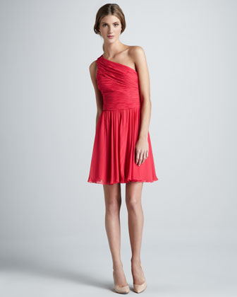 Ruched-Top One-Shoulder Dress