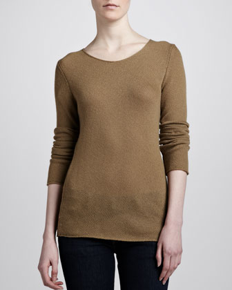 Cashmere Bias Knit Sweater, Sage