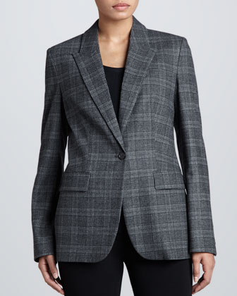 Lynden Flannel One-Button Blazer