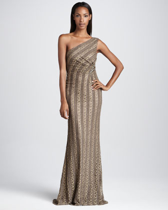 One-Shoulder Striped Gown