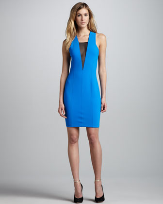Sheer-Panel Formfitting Dress, Azure