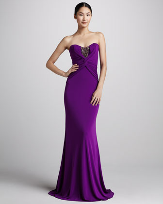 Beaded Jersey Mermaid Gown, Orchid