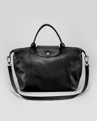 Le Pliage Cuir Medium Handbag with Strap, Black