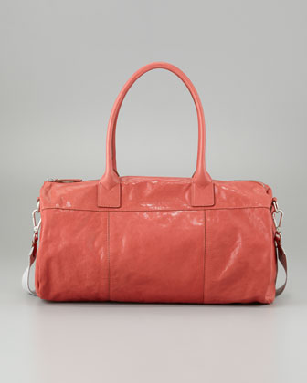 Shiny Kidskin Duffel Bag, Red