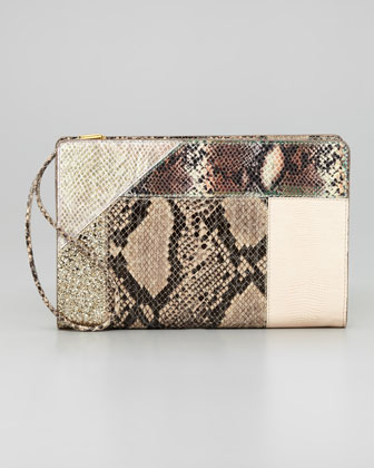 Patchwork Wristlet Clutch Bag, Cream