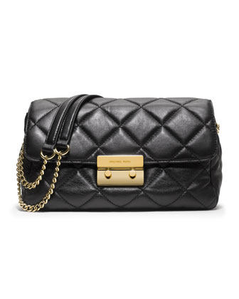 Sloan Large Quilted Shoulder Bag, Black