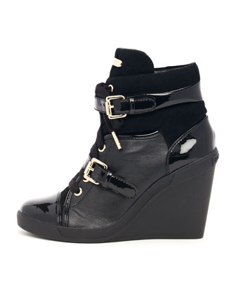 Skid Leather Wedge Bootie, Black