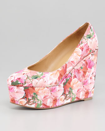 Digital Floral-Print Wedge