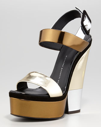 Multi-Metallic Platform Wedge Sandal