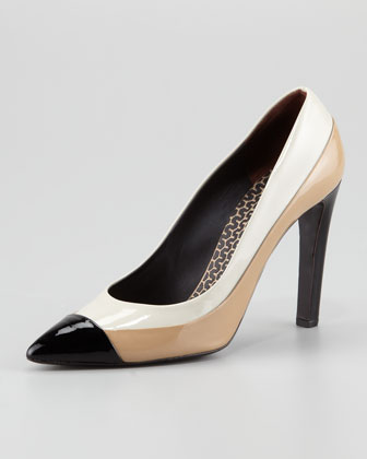 Colorblock Patent Leather Pump