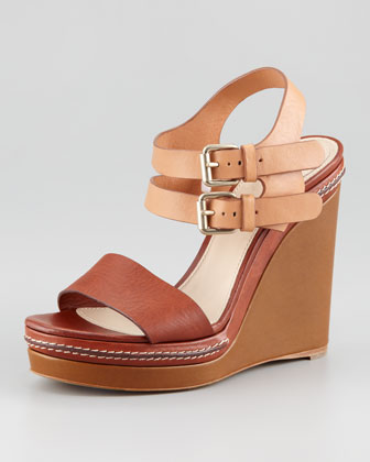 Double Ankle-Wrap Wedge Sandal
