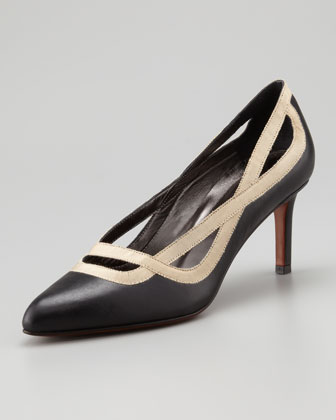 Grosgrain-Trimmed Calfskin Pump, Black