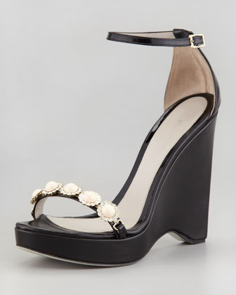 Pearly-Strap Patent Wedge