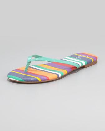 Madrid Striped Flip Flops, Green