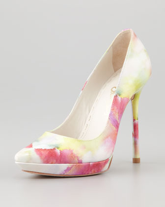 Danny Watercolor Patent Platform Pump