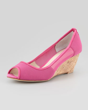 Molly Stretch-Mesh Low-Cork Wedge, Fuchsia
