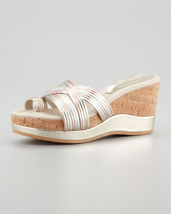 Lettie Metallic Wedge Sandal, Rose Gold/Multi