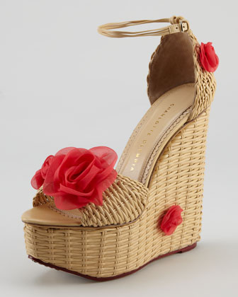 Hortencia Wicker-Woven Leather Wedge Sandal