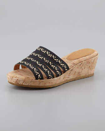 Squishee Braided Raffia Slide Sandal, Black