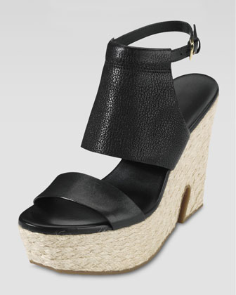 Arden Covered-Vamp High Wedge Sandal, Black