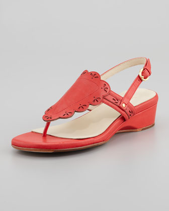 Kingston Eyelet Cutout Low Wedge Thong Sandal, Coral