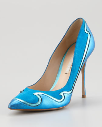 Wave Leather & Suede Pump, Aqua