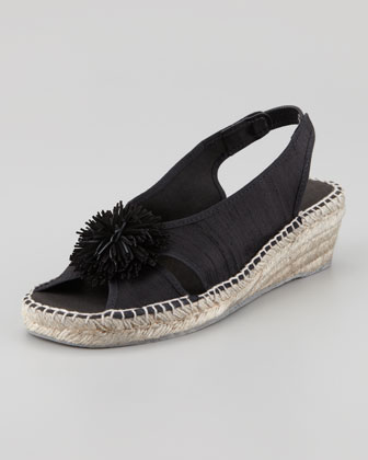 Dion Silk Espadrille Wedge, Black