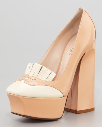 Bicolor Loafer Platform Pump, Powder/Ivory