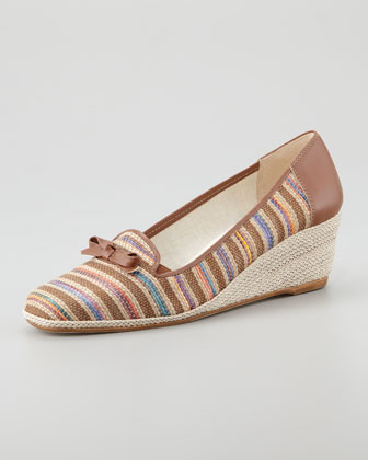 Mary Stripe Espadrille, Brown/Multicolor