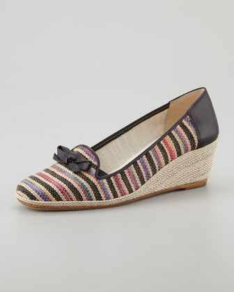 Mary Stripe Espadrille, Black/Multicolor