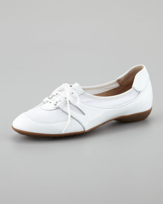 Bonnie Patent Leather Lace-Up Slip-On Sneaker, White