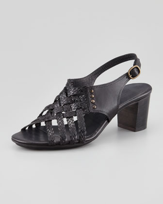 Paula Woven Leather Slingback Sandal, Black