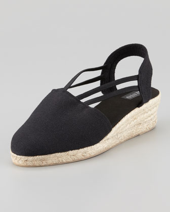 Juan Canvas Espadrille Wedge, Black
