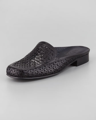 Myrtisa Woven Leather Slip-On Mule, Black