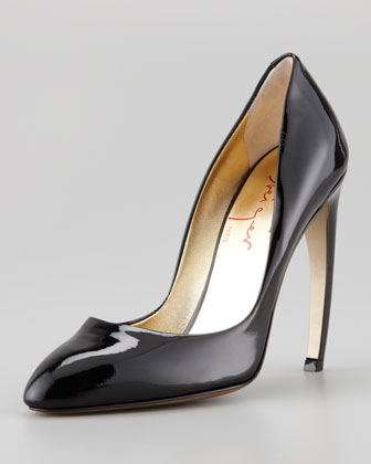 Bowed-Heel Patent Leather Pump, Black