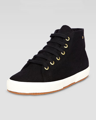 Hi-Top Faille Lace-Up Sneaker, Black