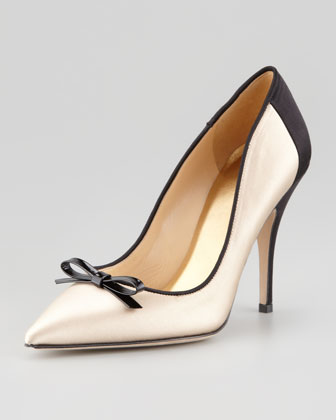 lisa satin bow pump, champagne