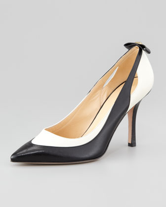 precious bicolor bow-back pump