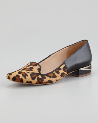Canela Leopard-Print Calf Hair Smoking Slipper