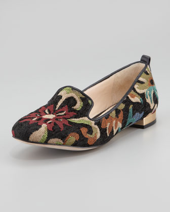 Adeline Floral Needlepoint Slipper, Dark Multi